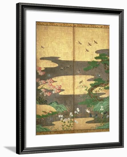 Birds with Autumn and Winter Flowers--Framed Premium Giclee Print