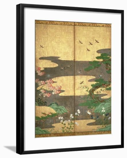 Birds with Autumn and Winter Flowers--Framed Giclee Print