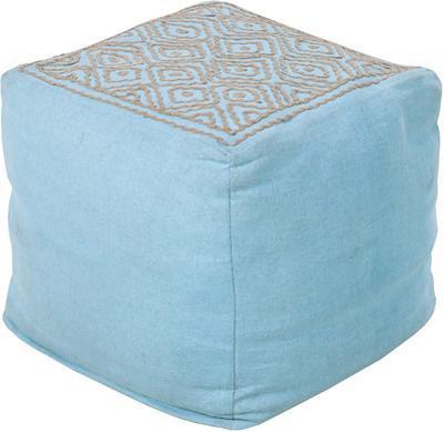 Birdseye Linen Cube Pouf - Sky Blue
