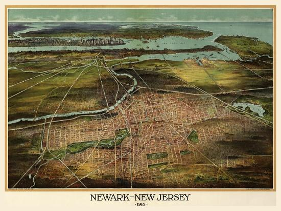 Birdseye View Of Newark, New Jersey 1916-Vintage Lavoie-Giclee Print
