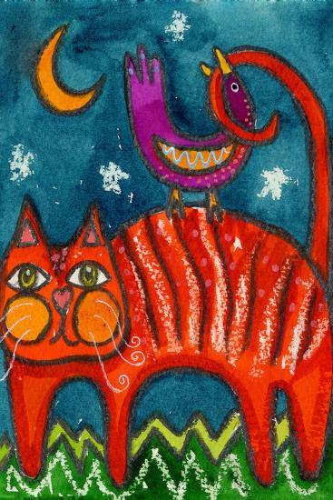 Birdy Got My Tail Kitty-Wyanne-Giclee Print