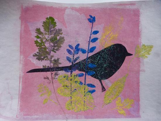 Birdy on pink-Sarah Thompson-Engels-Giclee Print