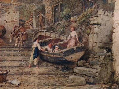 'View at Clovelly, with Stranded Boat and Figures', 1882, (1935)