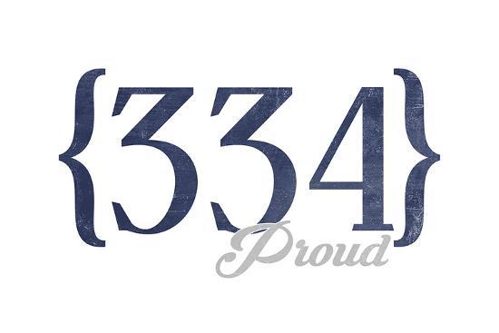 Birmingham, Alabama - 334 Area Code (Blue)-Lantern Press-Art Print