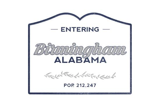 Birmingham, Alabama - Now Entering (Blue)-Lantern Press-Art Print
