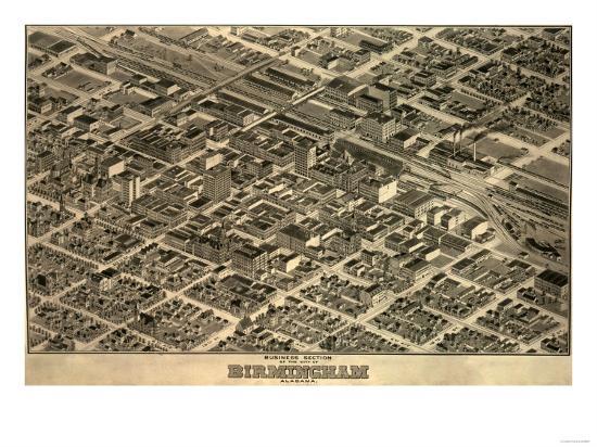 Birmingham, Alabama - Panoramic Map-Lantern Press-Art Print