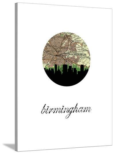 Birmingham Eng Map Skyline-Paperfinch 0-Stretched Canvas Print