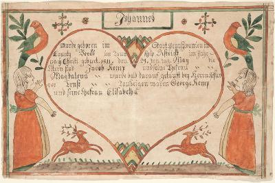 Birth and Baptismal Certificate (Geburts Und Taufschein) for Johannes Kemp, Illustration from…--Giclee Print