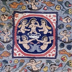 Birth of Venus, Wool and Linen Tapestry from Egypt, Coptic Art, 6th Century