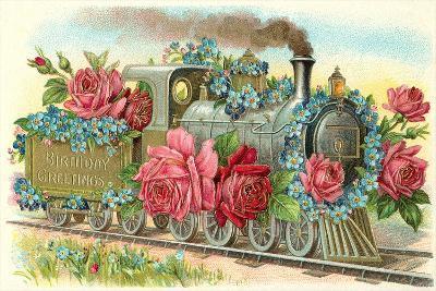 Birthday Greetings, Rose Train--Art Print
