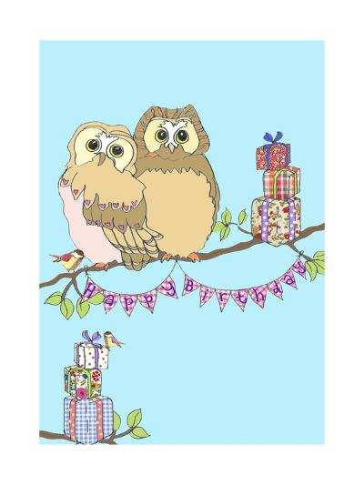 Birthday Owls, 2013-Anna Platts-Giclee Print