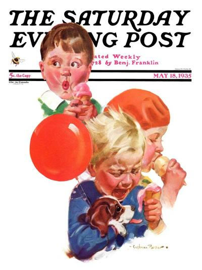 """""""Birthday Party,"""" Saturday Evening Post Cover, May 18, 1935-Cushman Parker-Giclee Print"""