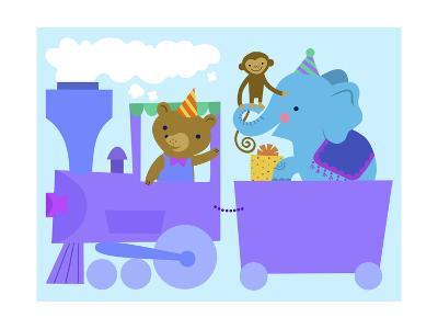 Birthday Train with Animals--Art Print