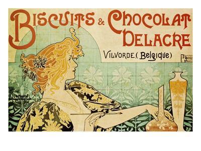 art nouveau Alphonse MUCHA ART Chocolate advertising poster canvas print