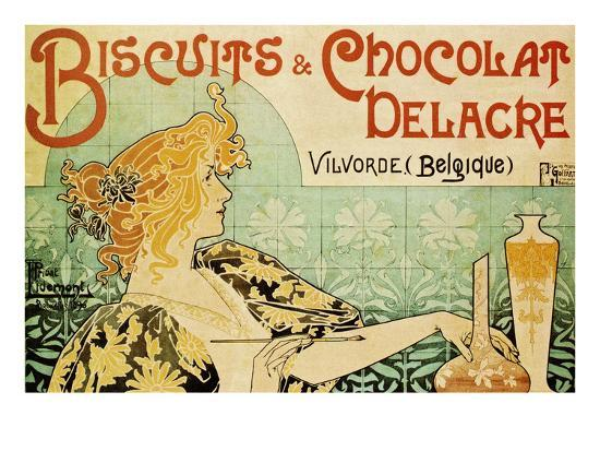 Biscuits And Chocolate Delcare Art Print Alphonse Mucha Art Com