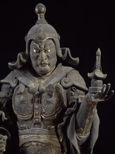 Bishamon-Ten, Guardian of the North, Lacquered Cypress Wood Statue, Japan--Giclee Print