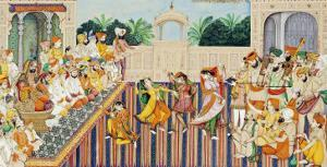 Musicians and Dancing Girls Perform Before Sher Singh, 1874 by Bishan Singh