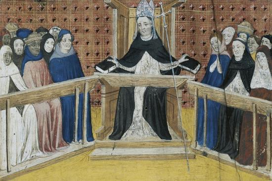 Bishop on His Throne, Miniature from Summa De Casibus, Manuscript, 1329--Giclee Print