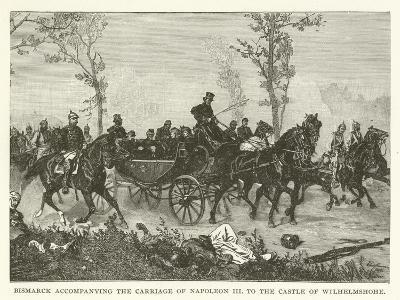Bismarck Accompanying the Carriage of Napoleon III to the Castle of Wilhelmshohe--Giclee Print