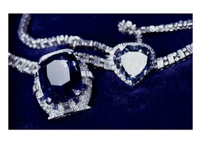 Bismarck Necklace and Empress Eugenie's (1826-1920) Ring (Diamond, Sapphire and Platinum)-American-Giclee Print