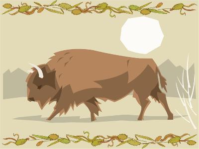 Bison in a Decorative Illustration-Artistan-Art Print