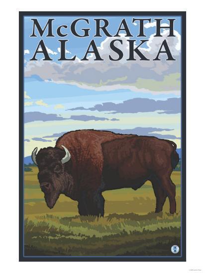 Bison Scene, McGrath, Alaska-Lantern Press-Art Print