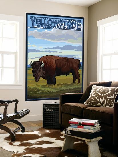 Bison Scene, Yellowstone National Park-Lantern Press-Wall Mural
