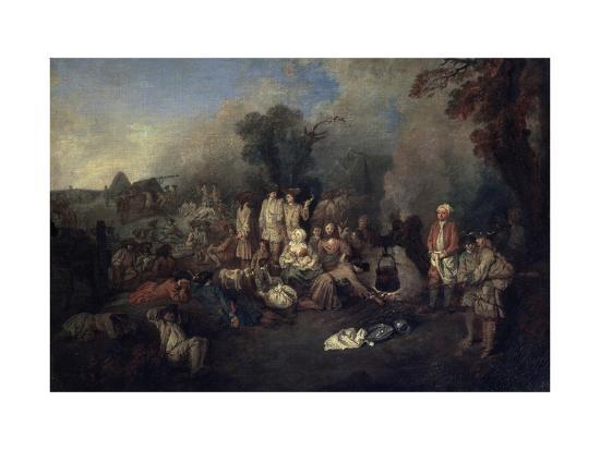 Bivouac, C1710-Jean-Antoine Watteau-Giclee Print