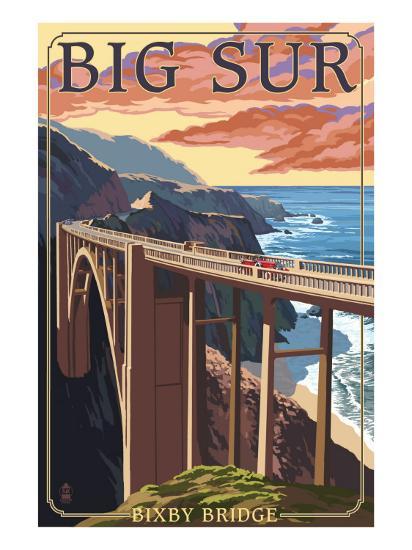 Bixby Bridge - California Coast-Lantern Press-Art Print