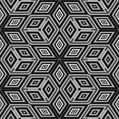 Black And White 3D Cubes Illustration - Escher Style-Kamira-Art Print