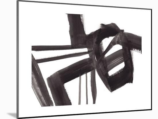 Black and White Abstract Painting 1-Jaime Derringer-Mounted Giclee Print