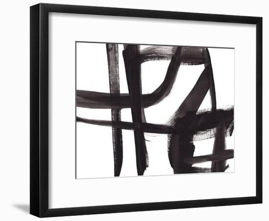 Black and White Abstract Painting 2-Jaime Derringer-Framed Art Print