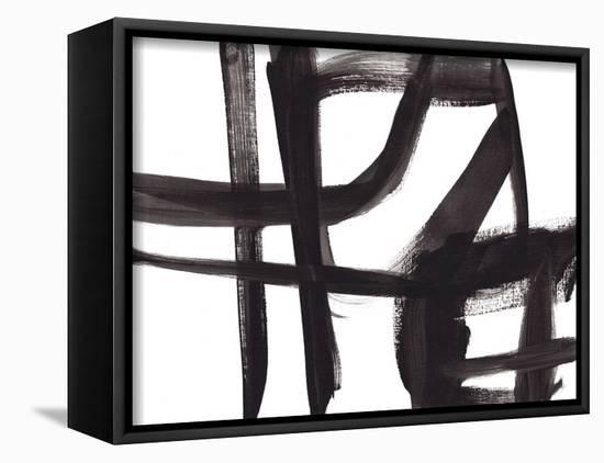 Black and White Abstract Painting 2-Jaime Derringer-Framed Canvas Print