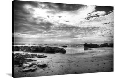 Black and White Beach-Nish Nalbandian-Stretched Canvas Print
