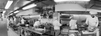 Black and White, Chefs in Kitchen--Photographic Print