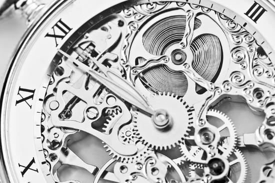 Black and White close View of Watch Mechanism- ThomasLENNE-Photographic Print