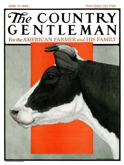"""""""Black and White Cow in Profile,"""" Country Gentleman Cover, July 21, 1923-Charles Bull-Giclee Print"""