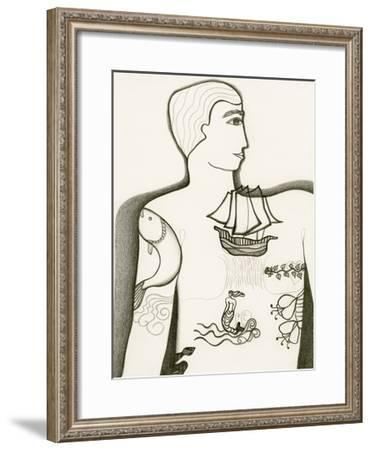 Black and White Drawing of Tattooed Man-Marie Bertrand-Framed Giclee Print
