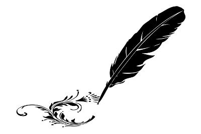 Black-And-White Feather And Flourish--Art Print