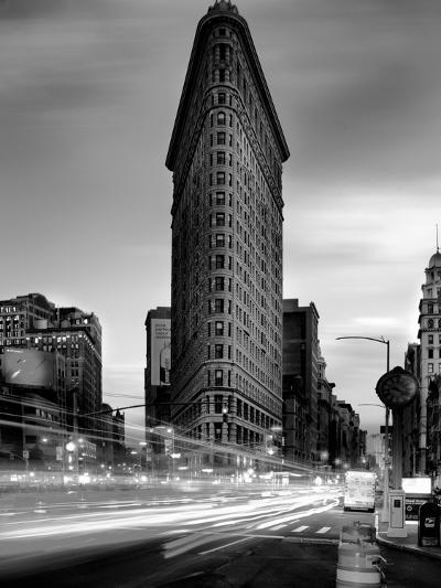 Black and white Flatiron Building in Manhattan New York and light trails at sunset purple clouds-David Chang-Photographic Print