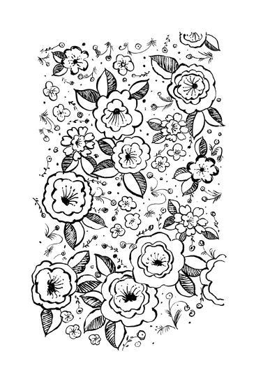 Black and White Flowers and Flower Buds--Art Print