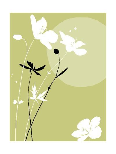 Black and White Flowers on Olive Background--Photo
