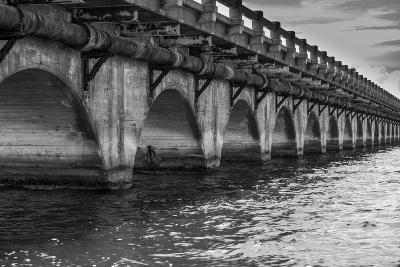Black and White Horizontal Image of an Old Arch Bridge in Near Ramrod Key, Florida-James White-Photographic Print