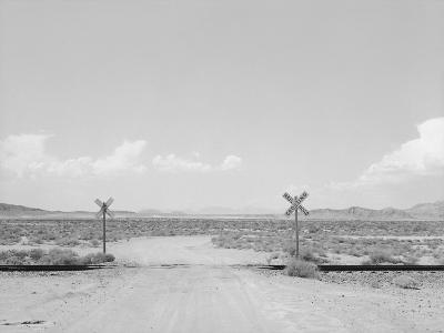 Black and White Image of a Train Cross-Rob Lang-Photographic Print