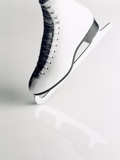 Black and White Image of Figure Skater's Skate-Howard Sokol-Photographic Print