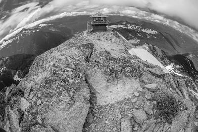 Black and White Image of the Mt. Freemont Lookout in Mt. Rainier National Park, Washington-SixView Studios-Photographic Print