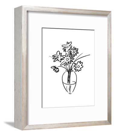 Black and White Line Art of Flowers in a Vase