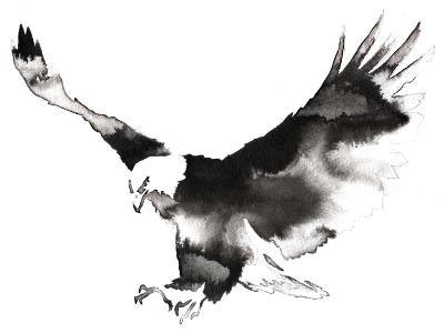 Black and White Monochrome Painting with Water and Ink Draw Eagle Bird Illustration-Evgeny Turaev-Art Print