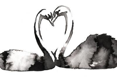 Black and White Monochrome Painting with Water and Ink Draw Swan Bird Illustration-Evgeny Turaev-Art Print