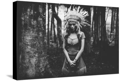 Black And White Mood In The Forest--Stretched Canvas Print